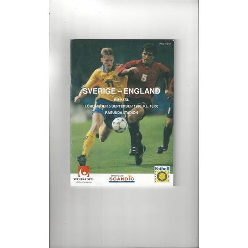 1998 Sweden v England Football Programme