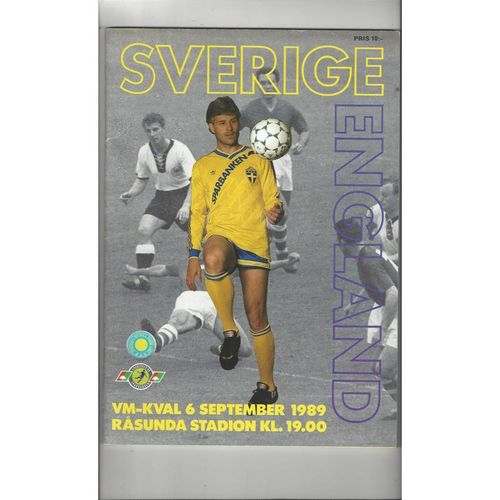 1989 Sweden v England Football Programme