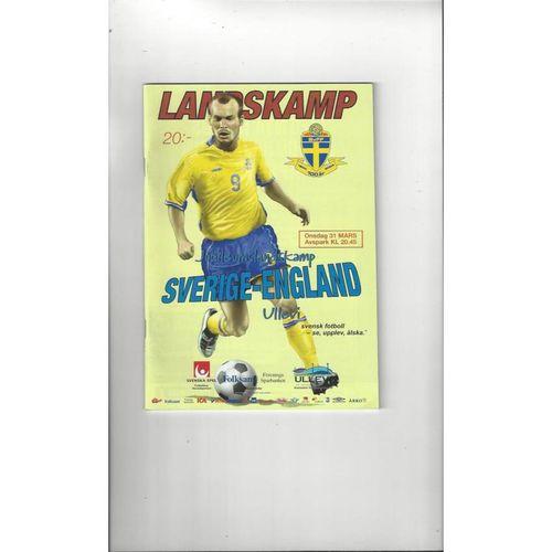 2004 Sweden v England Football Programme