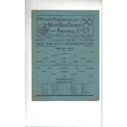 1946/47 West Ham United v Manchester City Football Programme