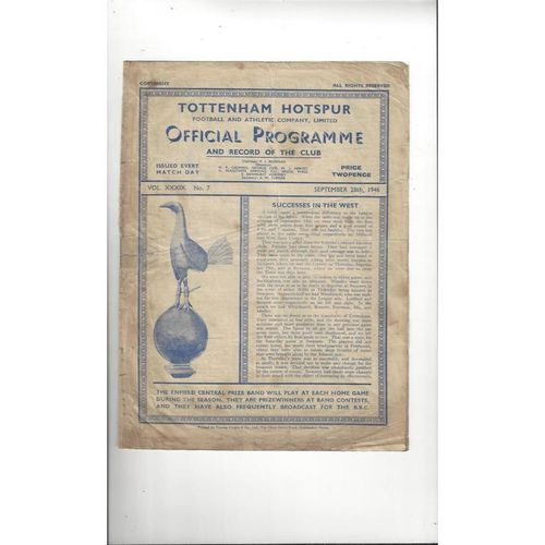 1946/47 Tottenham Hotspur v Manchester City Football Programme
