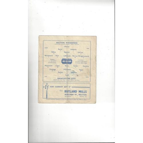 1946/47 Bolton Wanderers v Manchester City FA Cup Football Programme
