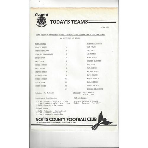 Notts County v Manchester United FA Youth Cup Football Programme 1985/86