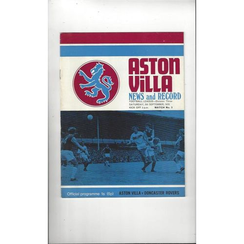 1970/71 Aston Villa v Doncaster Rovers Football Programme