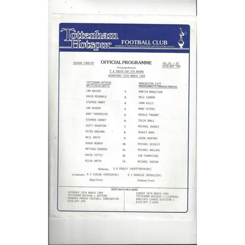 Tottenham Hotspur v Manchester City FA Youth Cup Football Programme 1988/89