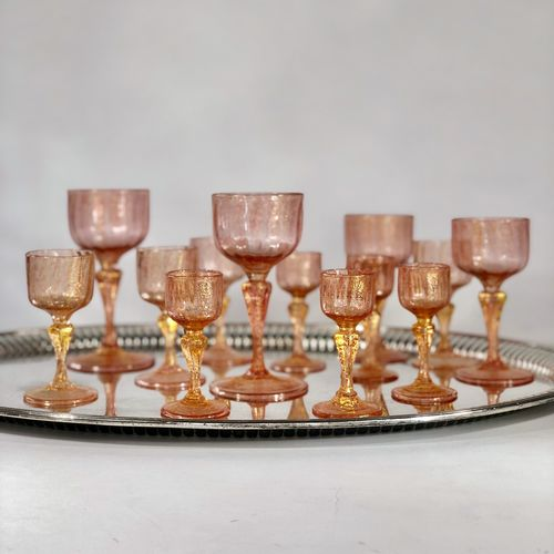 Pretty set of pink and gold Venetian after dinner glasses
