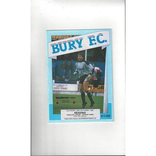 1990/91 Bury v Reading Football Programme