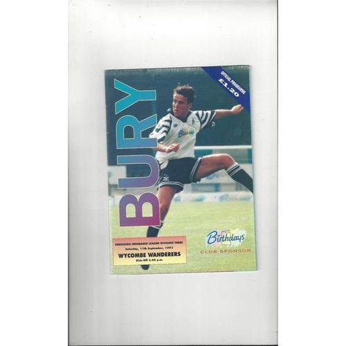 1993/94 Bury v Wycombe Wanderers Football Programme