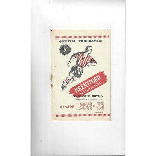 1952/53 Brentford v Doncaster Rovers Football Programme