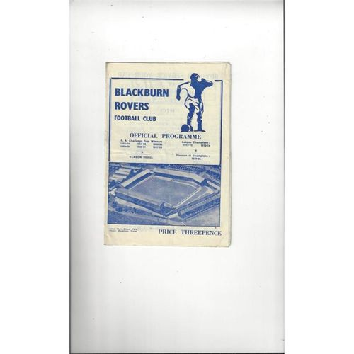 1952/53 Blackburn Rovers v Doncaster Rovers Football Programme