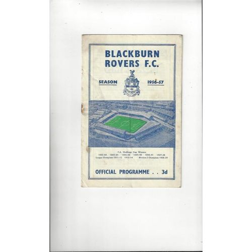 1956/57 Blackburn Rovers v Doncaster Rovers Football Programme