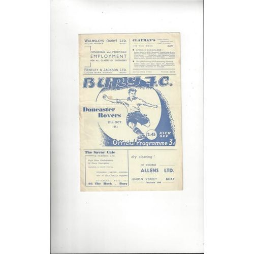 1951/52 Bury v Doncaster Rovers Football Programme
