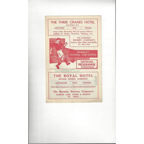 1957/58 Barnsley v Doncaster Rovers Football Programme