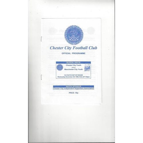Chester City v Manchester City FA Youth Cup Football Programme 1998/99