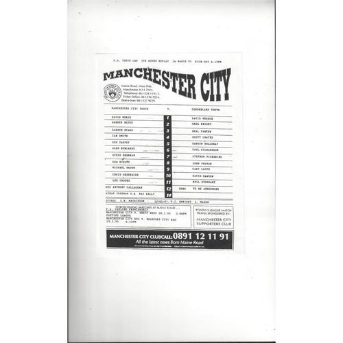 Manchester City v Sunderland FA Youth Cup Replay Football Programme 1994/95
