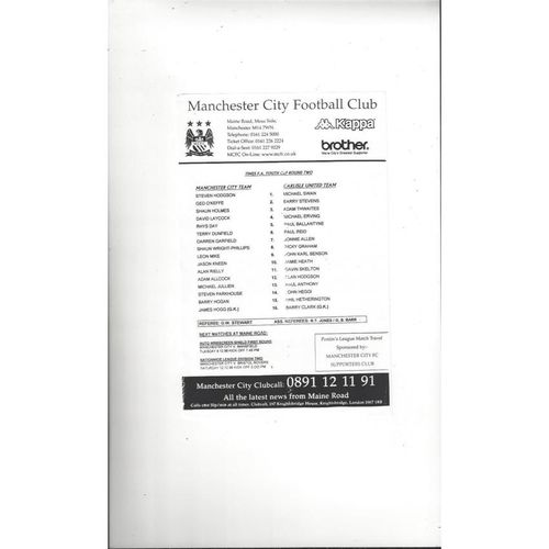 Manchester City v Carlisle United FA Youth Cup Football Programme 1998/99