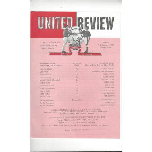 Manchester United v Blackburn Rovers FA Youth Cup Rep Football Programme 1997/98
