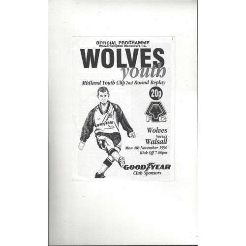 Wolves v Walsall FA Youth Cup Football Programme 1996/97