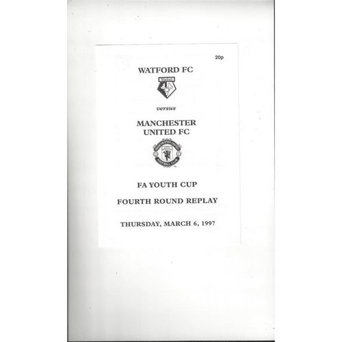 Watford v Manchester United FA Youth Cup Replay Football Programme 1996/97