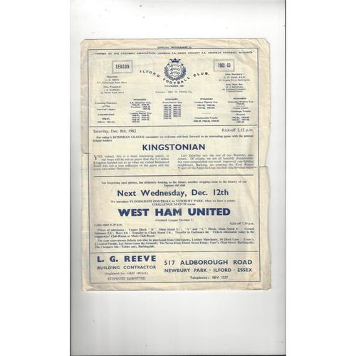 1962/63 Ilford v Kingstonian Football Programme