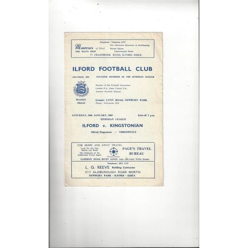 1964/65 Ilford v Kingstonian Football Programme