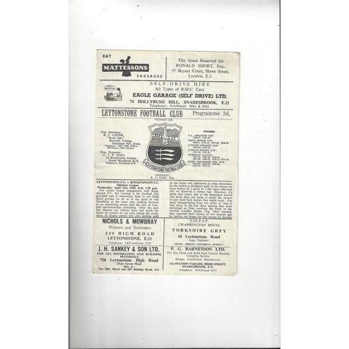1964/65 Leytonstone v Kingstonian Football Programme