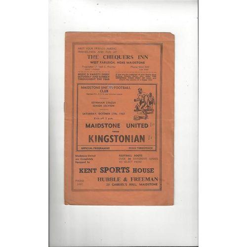 1962/63 Maidstone United v Kingstonian Football Programme