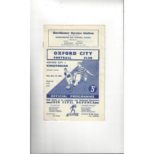 1960/61 Oxford City v Kingstonian Football Programme