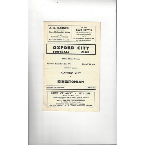 1964/65 Oxford City v Kingstonian Football Programme