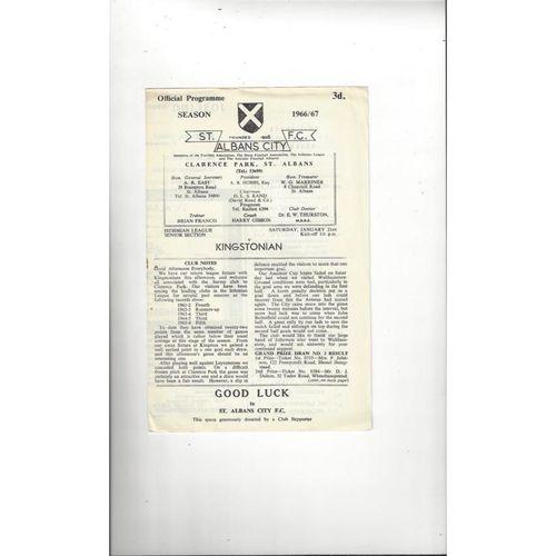 1966/67 St Albans City v Kingstonian Football Programme