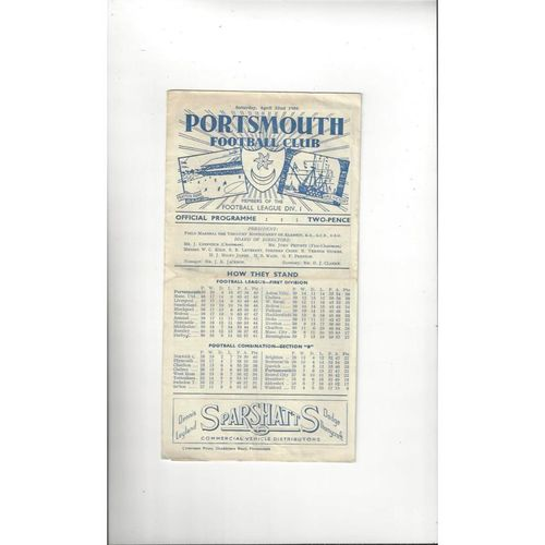 1949/50 Portsmouth v Liverpool Football Programme