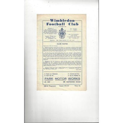 1961/62 Wimbledon v Kingstonian Football Programme