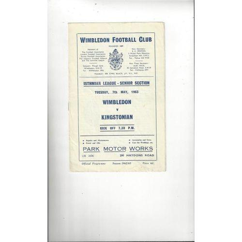 1962/63 Wimbledon v Kingstonian Football Programme