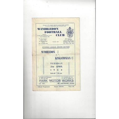 1963/64 Wimbledon v Kingstonian Football Programme