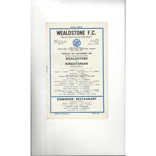 1964/65 Wealdstone v Kingstonian Football Programme