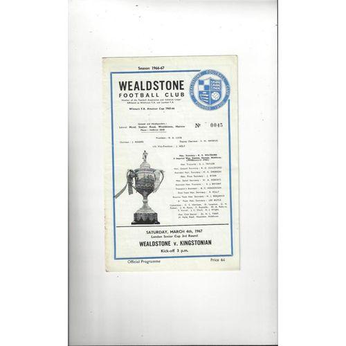 1966/67 Wealdstone v Kingstonian London Senior Cup Football Programme