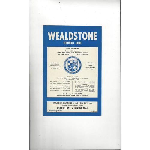 1967/68 Wealdstone v Kingstonian Football Programme