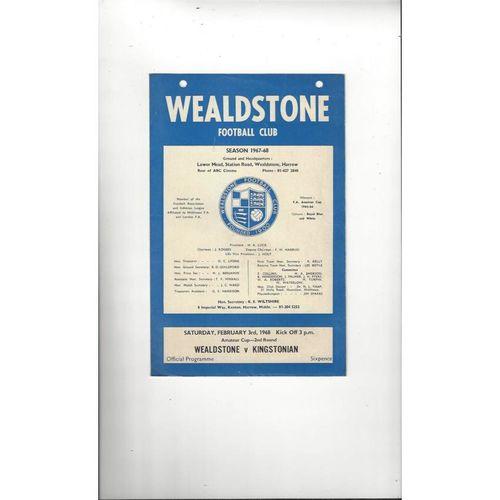 1967/68 Wealdstone v Kingstonian Amateur Cup Football Programme
