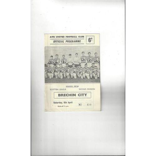 1967/68 Ayr United v Brechin City Football Programme