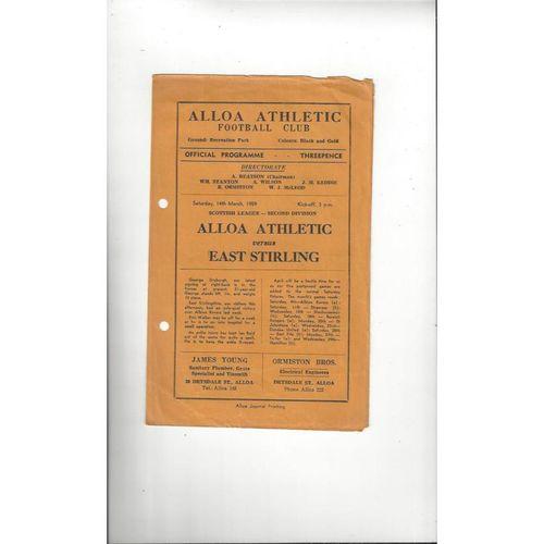 1958/59 Alloa Athletic v East Stirling Football Programme
