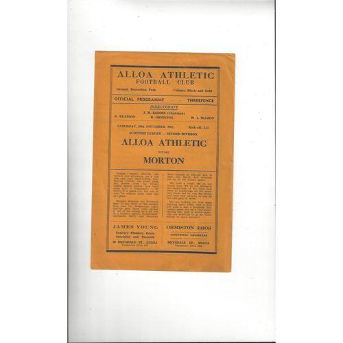 1963/64 Alloa Athletic v Morton Football Programme