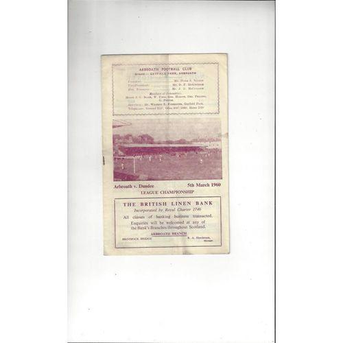 1959/60 Arbroath v Dundee Football Programme