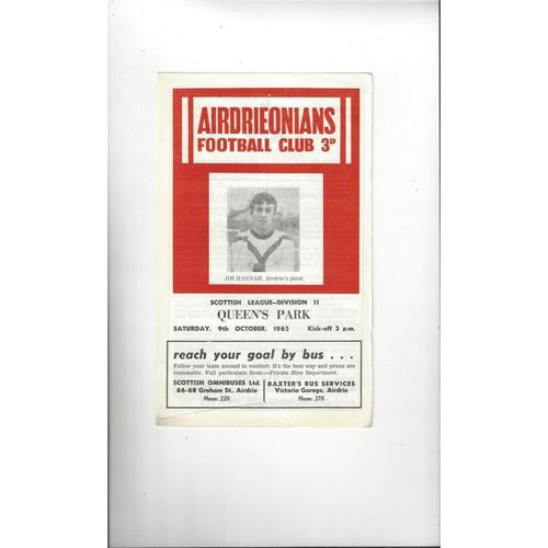 1965/66 Airdrie v Queens Park Football Programme
