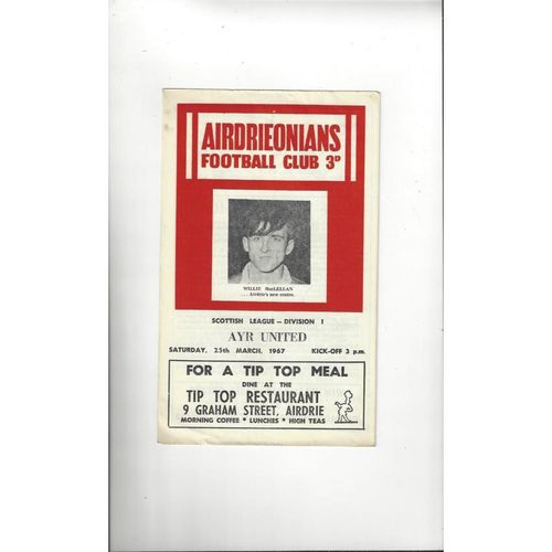 1966/67 Airdrie v Ayr United Football Programme