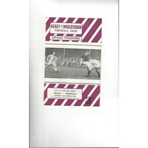 1961/62 Hearts v Hibernian East of Scotland Shield Football Programme