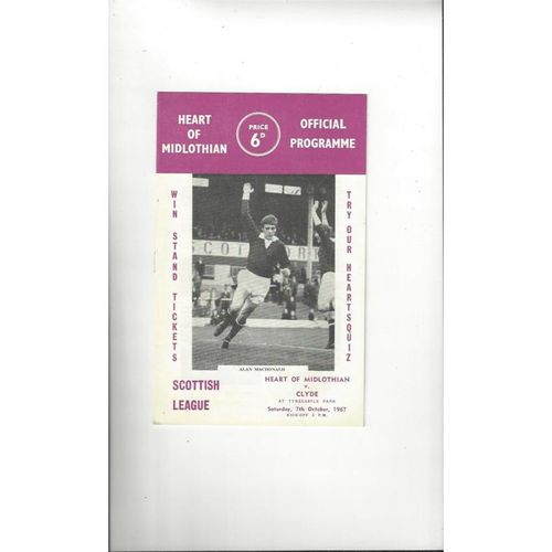1967/68 Hearts v Clyde Football Programme