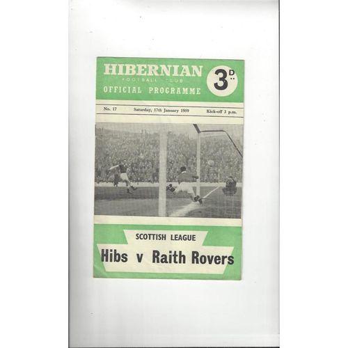1958/59 Hibernian v Raith Rovers Football Programme
