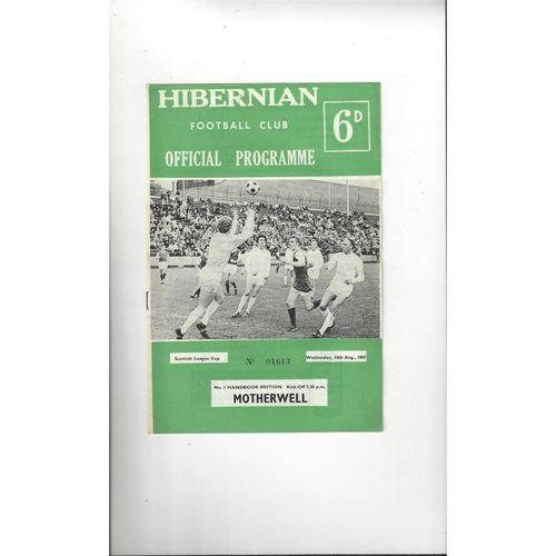 1967/68 Hibernian v Motherwell League Cup Football Programme