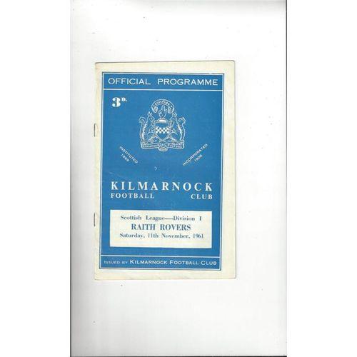 1961/62 Kilmarnock v Raith Rovers Football Programme