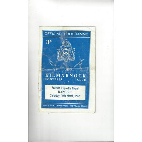 1961/62 Kilmarnock v Rangers Scottish Cup Football Programme